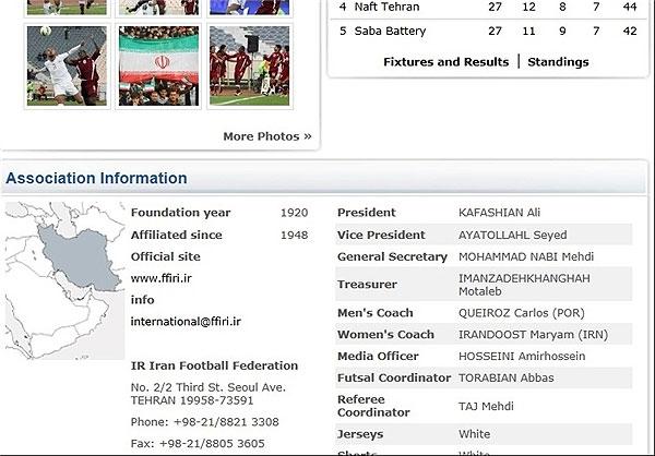 فدراسیون جهانی فوتبال در حالی که اختلاف نظر فدراسیون فوتبال و سازمان بازرسی درباره علی کفاشیان به اوج خود رسیده است در سایت خود انتخابات فوتبالیهای ایران را به رسمیت شناخت.