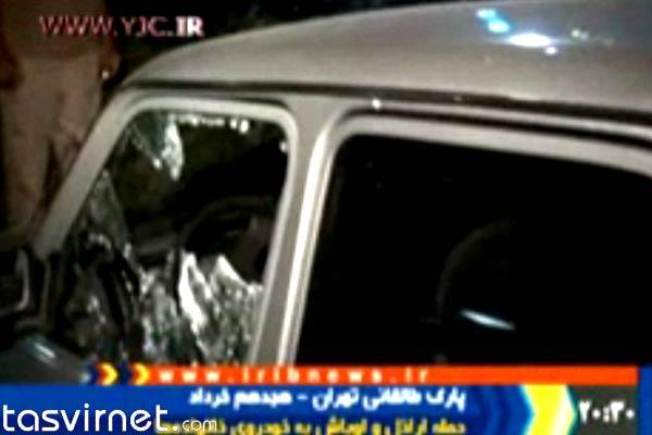 تصاویری که برنامه خبری 20:30 از صدمات وارده به خودروهای مردم در پارک طالقانی پخش کرد.