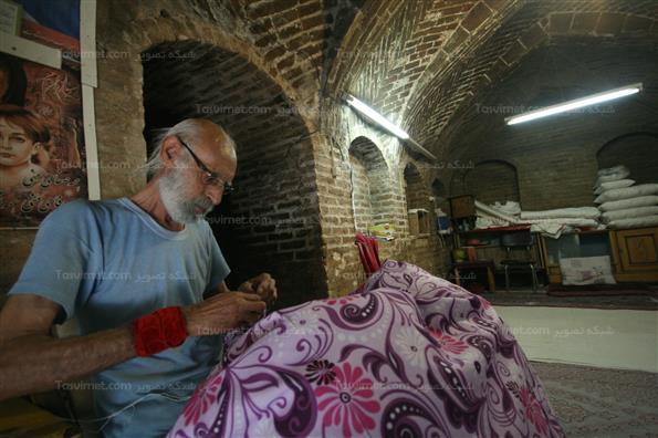 لحاف دوزی در بازار قدیمی قزوین